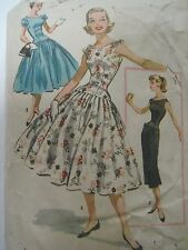 Vintage 50's McCall's 3667 DRESS w/ FULL or SLIM SKIRT Sewing Pattern Women Teen