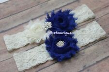 Blue wedding garter small to plus size ivory lace bridal garter set for bride