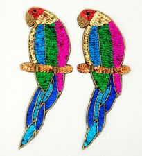 """New listing Vintage Sequin Beaded Parrot Appliques 9.5 00004000 """" Lot of 2 Nos"""