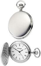 Reloj de Bolsillo Burleigh Cazador Movimiento de cuarzo, cromo plateado, Grabado Gratis 1231