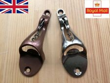 2 in 1 Retro Wall Mounted Bottle Opener Corkscrew Bar Tool Rustic or Silver