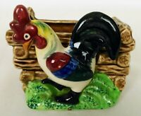 "Vintage Rooster Ceramic Planter Chicken Cockerel Flower Pot Vase 4"" 3/8 W"