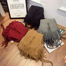 Fashion Women Fringe Tassel Shoulder Bag Backpack Handbag Satchel Rucksack