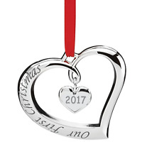 Lenox 2017 Our First Christmas Forevermore Ornament Heart Silver Plated