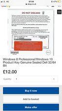 Windows 8 Professional/Windows 10 Product Key Genuine Sealed Dell 32/64 Bit