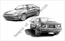 1986 Toyota Celica GT-S hatchback 11 x 17 two-view drawing picture print   86
