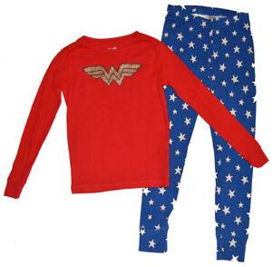 Gap Kids NWT Wonder Woman Logo Red Blue Pajamas 14 $45