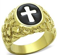MENS CROSS GOLD NUGGET STAINLESS STEEL RING SIZE 8 9 10 11 12 13