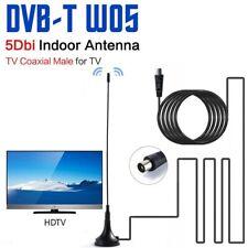 ANTENNA TV portatile 5Dbi DIGITALE TERRESTRE DVB-T potente HD mini con cavo 1,5m