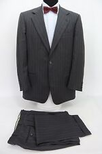 Joseph Abboud Collection Hand Tailored 2 Btn Suit Gray Stripe Wool 42 L