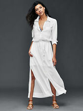 NWT Gap Maxi Shirtdress, White SIZE M                  #201768 v811