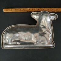 "Vintage Antique Cast Aluminum Sheep Lamb Chocolate Baking Crafts Mold 11"" x 8"""