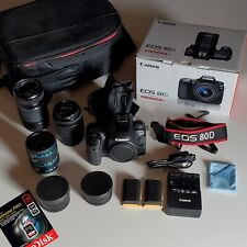 Canon EOS 80D 24.2MP DSLR Digital Camera Kit with 18-55mm Lens +55-250mm +Extras
