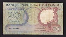 Congo Democratic Republic, 20 Francs 1961, VF, P-4a