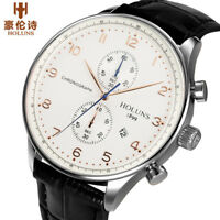 HOLUNS Men Wrist Watch Water Resistant Date Display Chronograph Genuine Leather