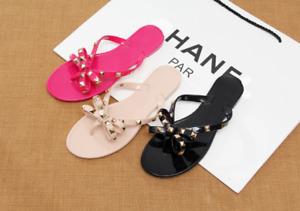 Summer Wome Jelly Flip Flop Clinch Bolt Flat Rivet Bowknot Crystal Thong Sandals