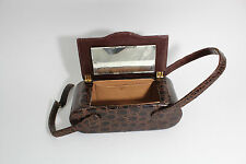 Bass Crocodile Vintage Purse 1950s Hinge Closure Hand Bag Alligator Box Purse