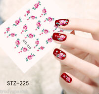 Nail Art Water Decals Wraps Pink Green Summer Flowers Roses Gel Polish (225)
