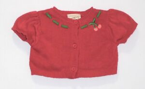 """Baby 8 Crazy 8 """"Cherry Sweetie"""" SS Button Front Pink Cardigan Sweater, 3-6 mos."""