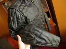 40 MEDIUM True Vtg 70s BLACK LEATHER CAFE QUILTED PADDED MOTORCYCLE JACKET