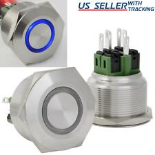 28mm Latching Push Button Power Switch Stainless Steel With Blue Led Waterproof
