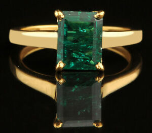 2CT Emerald Cut 100% Natural Green Emerald Women's Ring In Real 14KT Yellow Gold
