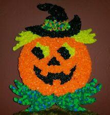Large Vintage Halloween Plastic Popcorn 17 x 13 Jack-O-Lantern Pumpkin Witch Hat