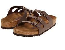 Birkenstock FLORIDA Ladies Womens Buckle Birki-Buc Summer Beach Sandals Mocca BN