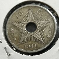 1911 BELGIUM CONGO 10 CENTIMES SCARCE COIN