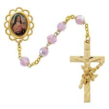 Rosary St Therese Lisieux Pewt Gold 5 Decade Pink Crystal Beads Vintage Catholic