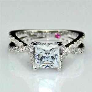 2.70Ct White Cut Princess Diamond 14K white Gold Twisted Wedding Ring