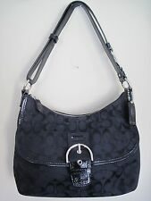 COACH Black SOHO Duffle Jacquard/Leather Trim Purse HandBag Shouder Bag #23164E