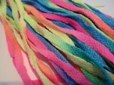 Vintage Dead Stock 1980s 1990s Rave Neon Rainbow Flat Trainer Shoe Laces 90cms