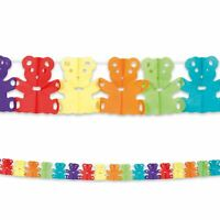 4m Garland Bunting with Teddy Bear Shape Multi Coloured Birthday Party