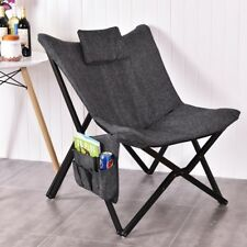 Fold Butterfly Solid Black Wooden Frame Chair Seat Soft Comfortable Seat Cushion