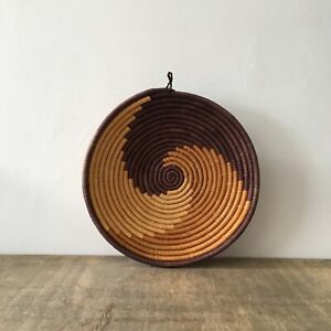 Vintage Woven Coiled Wicker Basket Rattan Fruit Bowl Display Boho Storage