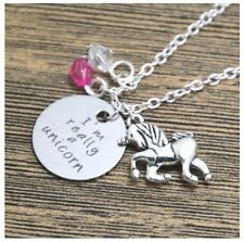 'IM REALLY A UNICORN' CHARM ENGRAVED NECKLACE SEA OCEAN BEACH NECKLACE 18""