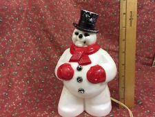 """VTG Hard Plastic Light Up Snowman 8.5"""" Tall Works General Products USA"""
