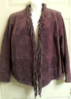 Purple Suede Leather Fringed Jacket Size Large Lined Boho Hippy By Dialogue