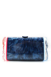 Edie Parker Womens Resin Marble Lara Backlit Clutch Handbag Blue