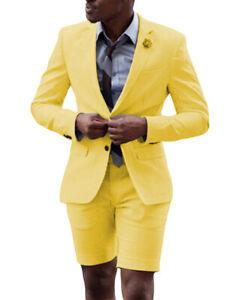 Summer Mens 2Piece Suits Tuxedos Notch Lapel Groom Groomsman Blazer+Vest+Shorts+