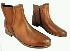 Marco Tozzi Women's Pure Leather Low Heel Zip Up Ankle Chelsea Boots UK (40)