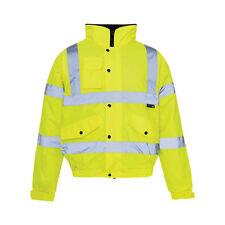Hi Viz High Visibility Fleece Collar Waterproof Bomber Jacket Yellow or Orange Yellow M Itsu 50 40 Yellow