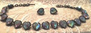 YSL Yves Saint Laurent Aurora Borealis Necklace and Matching Earring Set RARE