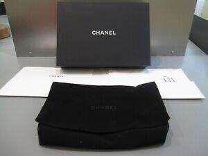 CHANEL GOLD AND BLACK BOX BLACK METALLIC RIBBON BLACK TISSUE PAPER A