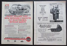 1958 Amp 1964 Bombardier Logging Tractor Print Ads 2 Rare Collectible Items