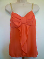 Womens S 3 4 orange ruffle bow bling gold chain straps evening dressy tank top