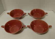 Set of (4) Vintage Homer Laughlin HARLEQUIN Rose Pink Handled Cream Soup Bowls