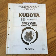 Kubota D1402 Bbs 1 Diesel Engine Parts Manual Book Catalog List Pn 97898 01041
