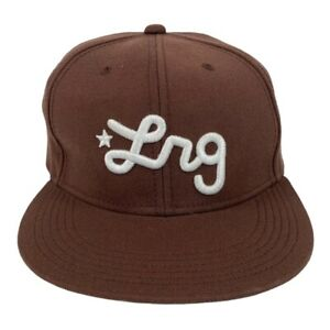 LRG 2000s Script Fitted Wool Brown Hat Lifted Research Group Cap Hip Hop Rap M